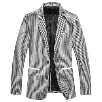 SHUJIN Men Blazer Autumn Causal Single Breasted Turndown Collar Suit Jacket Spring Fashion Plaid Printed Slim Fit Male Blazer