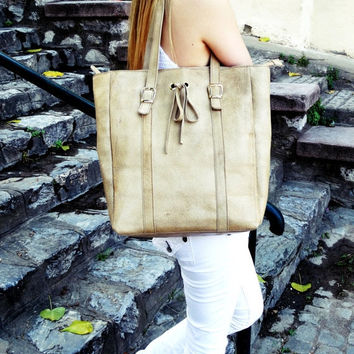 ON SALE Gold Beige Leather Tote Bag, Distressed Leather Bag