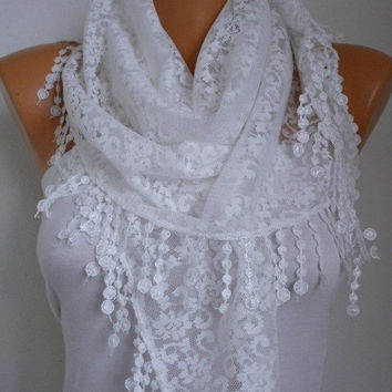 BIG SALE Creamy White Lace Scarf -  Shawl Scarf Women Scarves Cowl Scarf Bridesmaid Gift - fatwoman