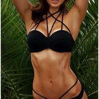 Black Halter Strappy Bra With Panty