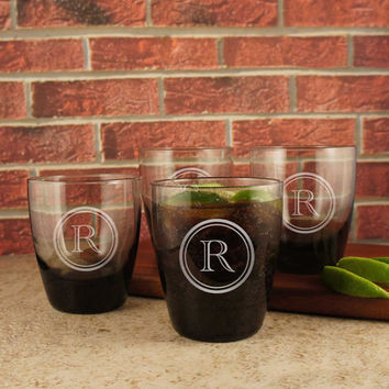 Rocks Personalized Lowball Tumbler with Monogram Designs & Font Selection OPTIONAL Four (4) Whiskey Stones or Engraved Stones per glass