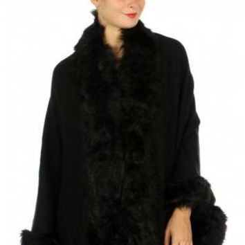Faux Fur Trimmed Wrap Ruana/Cape in 3 Colors