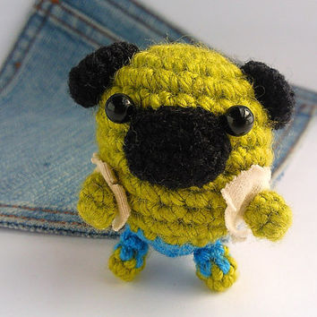 Amigurumi Pug, The Incredible Pulk Pug, Puppy Dog toy, Pug plushie. Crochet Pug toy