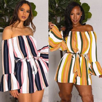Holdiay Summer Women Striped Bodycon Bandage Flare Sleeve Off Shoulder Holiday Sun Jumpsuit Playsuit Shorts Romper Beach