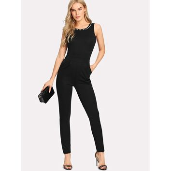 Pearl Beading Split Back Jumpsuit