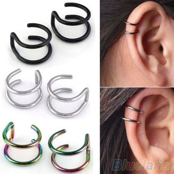 Men's Women's Clip-on Earrings Non-piercing Ear Cartilage Cuff Eardrop Ear Clip  4QC7