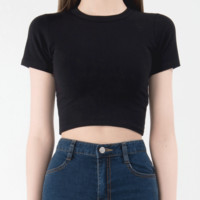 365 BASICRound Neck Crop Tee | mixxmix