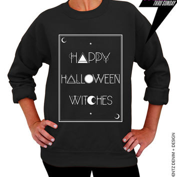Halloween Shirt - Tarot - Happy Halloween Witches - Black Unisex Crew Neck