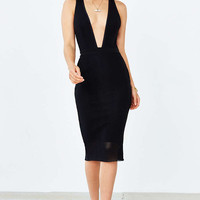 Bec & Bridge Noir Deep-V Midi Dress - Urban Outfitters