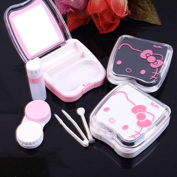 Kitty Cat Cosmetic Contact lens case with mirror colored contact lens case cute Lovely Travel box Eyewear Accessorie