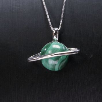 Natural Green Malachite Necklace Sterling Silver Celestial Body Pendant Malachite Tellurion Jewelry Green Gemstone