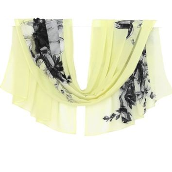 BUY ANY 3 GET 1 OF THEM FREE, light lime scarf, chiffon scarf, print scarf, silk scarf, black flowers scarf, spring scarf, summer scarf, pattern scarf, trending items