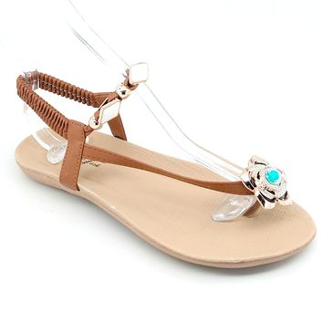Women's Tan Floral Sandal with Elastic