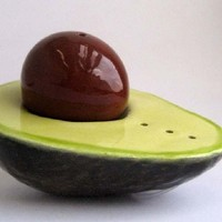 Supermarket: Avocado Salt and Pepper Shaker from Daina Platais Ceramics