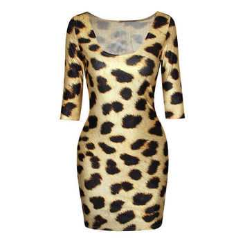 Animal Print Plaid Printed Crew Neck Bodycon Dress DR-14