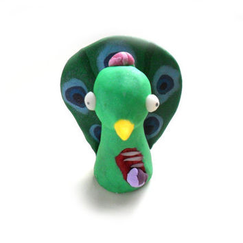 Zombie peacock figurine, undead bird in shimmering green polymer clay