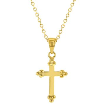 """925 Sterling Silver Small Cross Necklace Pendant for Girls Teens 16"""""""