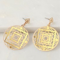 Geometric Drop Earrings Gold