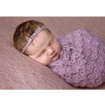 Mohair headband newborn swaddle sack prop photography handmade crochet knit newborn cocoon props fotografie accessories