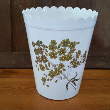 Vintage White Plastic Gold Flower Trash Can Waste Basket