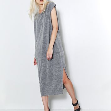 side pleat box maxi heather grey