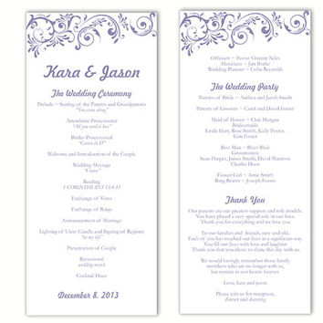 Wedding Program Template DIY Editable Text Word File Download Program Purple Wedding Program Template Printable Wedding   Program 4x9.25inch