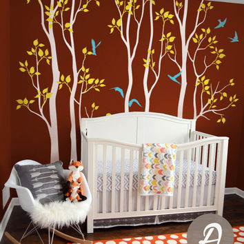 Nursery Tree Wall Decals Vinyl White Tree With Birds Birch Wall Mural Removable Tree Children Room Decor Huge Tree StickerD-310