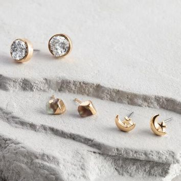 Pyrite Moon Stud Earrings Set of 3