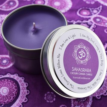 Sahasrara Crown Chakra Candle - Open Your Spiritual Center & Connect to Your Soul