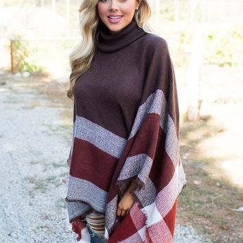 Save You Tonight Poncho Brown/Burgundy