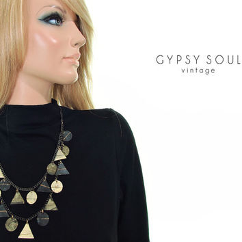 egyptian geometry statement necklace | patina metal necklace | acid oxidized metal necklace | chain neclace | tiered necklace