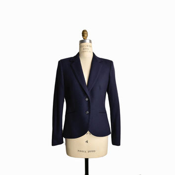 Vintage Navy Blue Wool Blazer / Fitted Blazer Jacket - women's small