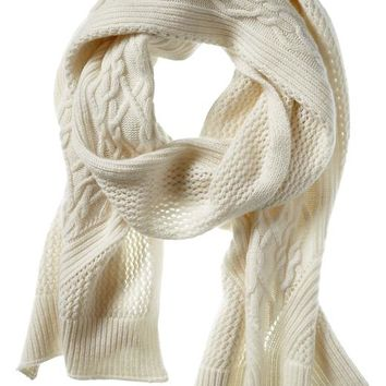 Banana Republic Todd & Duncan Cable Knit Cashmere Scarf Size One Size - Ivory