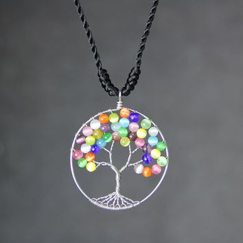 Rainbow colorful cat eye tree of life branch wiring pendant necklace Free US Shipping handmade Anni Designs