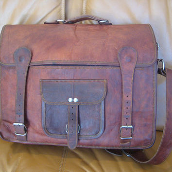 Vintage ultra distressed brown waxed leather messenger travel bag