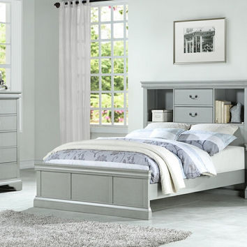 Poundex F9423T 3 pc bookcase headboard grey finish wood twin / full bed set