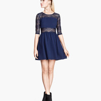 H&M - Lace Dress - Dark blue - Ladies