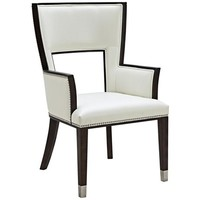 Naples Ivory Bonded Leather Upholstered Dining Armchair - #8P136 | LampsPlus.com