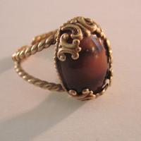 Western Germany Ring / Vintage / Brown Marbled / Faux Banded Agate / Size 7 / Ornate / 50s 60s  / Jewelry / Jewellery / Mid Century