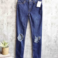 free people - busted high rise distressed skinny jeans - dark blue wash