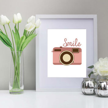 Camera Smile 8x10 Inch Art, Printable, Instant Download, Smile! Pink Camera, Photographer Art, Ask me about custom colors!