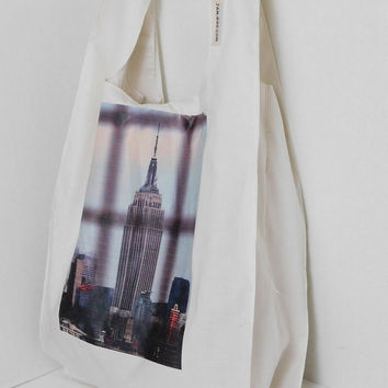 Eco Friendly Grocery Bag - Empire State Building / belt and hook | reusable shopping bag, reusable grocery bag, ecobag, New York Photography