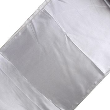 Satin Fabric Table Runner, Silver, 14-Inch x 108-Inch