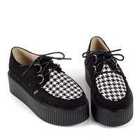 Handmade Women's Suede Lace Up Flat Double Platform Shoes Lady Fashion Sexy Goth Creepers Punk Casual Creeper Shoes Black