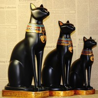 Egyptian Moon Goddess Incarnation Cat Stature Small Sculpture Decor