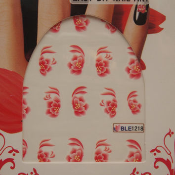 Nail art water decals red frowers Nail water transfers