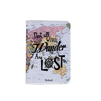 Not All Who Wander Are Lost World Map [Name Customized] Leather Passport Holder - Leather Passport Cover - Travel Accessory- Travel Wallet for Women and Men_SCORPIOshop