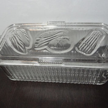 Vintage Federal Glass Clear Glass Refrigerator Dish/Box with Lid with Embossed Vegetables - Art Deco Style