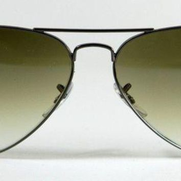 Kalete New Genuine Ray Ban 3025 004/51 Dark Silver Gun Metal Aviator Sunglasses 58mm
