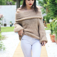 2016 new fashion women sexy off shoulder casual pullover sweater poncho loose knitted top Pullovers oversized knitwear jumper